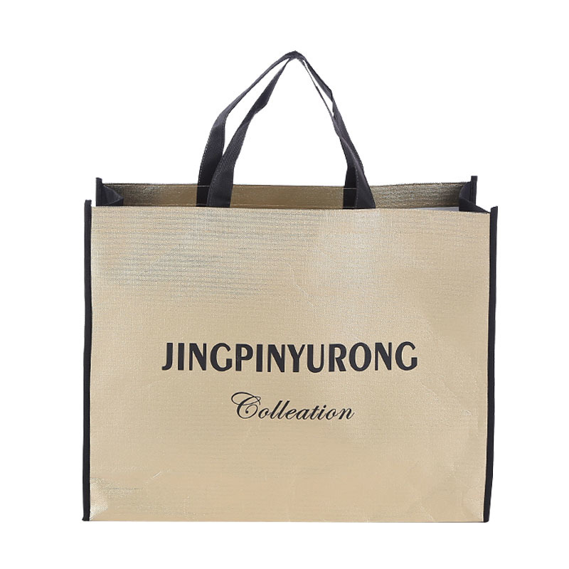 Fashion small customized size and logo non woven tote bag Metallic Foil Laminated shopping bag