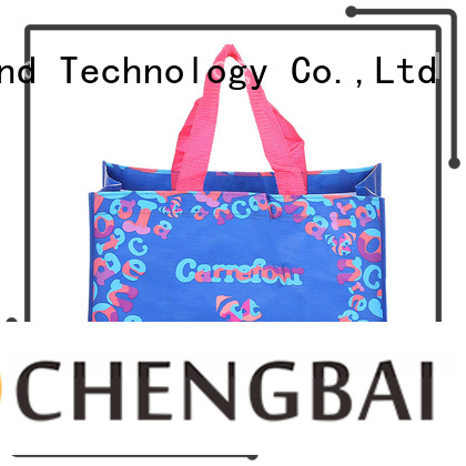 Fashion design print with customized logo and size women shopping bag handle pp woven bag