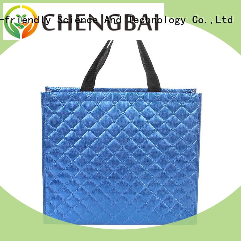 Portable eco-friendly Metallic Foil Laminated shopping bag non woven fabric tote bags